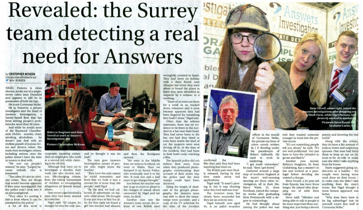 surrey advertiser private Detective Haslemere & surrey